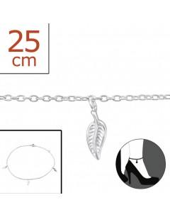 Mon-bijou - H2306z - Chaîne cheville feuille en argent 925/1000