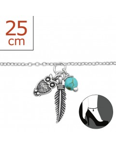 Mon-bijou - H5292z - Chaîne cheville charmes en argent 925/1000