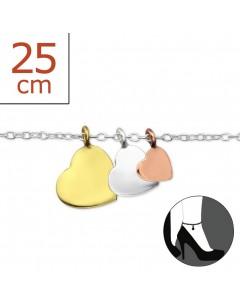 Mon-bijou - H1420z - Chaîne cheville 3 petits coeurs en argent 925/1000