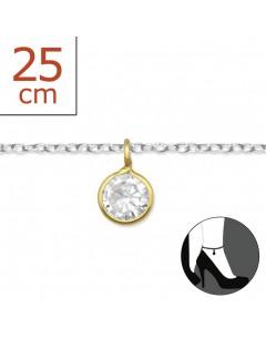 Mon-bijou - H2555z - Chaîne cheville en argent 925/1000