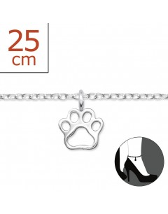 Mon-bijou - H6084z - Chaîne cheville patte chat en argent 925/1000