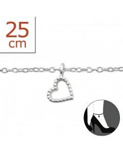 Mon-bijou - H6158z - Chaîne cheville coeur en argent 925/1000
