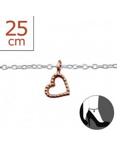 Mon-bijou - H6158r - Chaîne cheville coeur en argent 925/1000