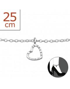 Mon-bijou - H6294z - Chaîne cheville coeur en argent 925/1000