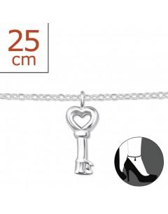 Mon-bijou - H6399z - Chaîne cheville clé en argent 925/1000