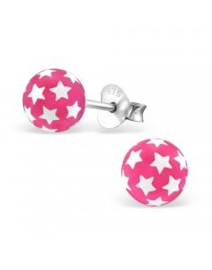 Mon-bijou - H21976 - Boucle d'oreille rose étoile en argent 925/1000