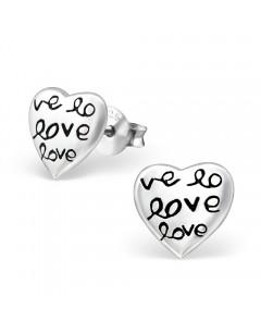 Mon-bijou - H14818 - Boucle d'oreille love en argent 925/1000