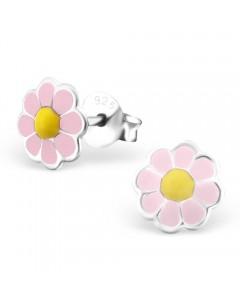 Mon-bijou - H22954 - Boucle d'oreille jolie fleur en argent 925/1000