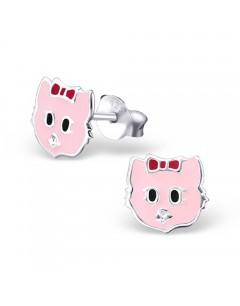 Mon-bijou - H17252 - Boucle d'oreille chat rose en argent 925/1000