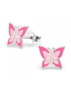Mon-bijou - H15656 - Boucle d'oreille papillon rose claire en argent 925/1000