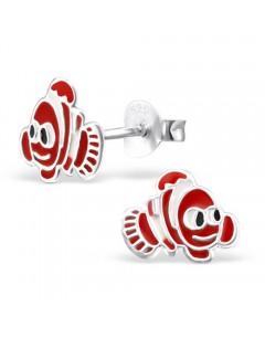 Boucle d'oreille poisson exotique en argent
