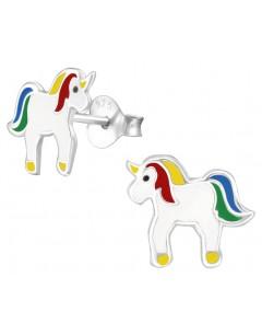 Mon-bijou - H34014 - Boucle d'oreille licorne arc en ciel en argent 925/1000