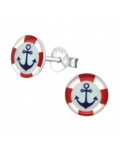 Mon-bijou - H19757 - Jolie boucle d'oreille marin en argent 925/1000