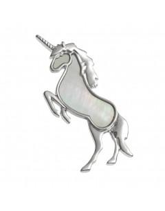Mon-bijou - D469 - Jolie broche licorne nacre en acier inoxydable