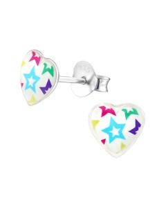 Mon-bijou - H31712 - Boucle d'oreille cœur étoile en argent 925/1000