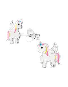 Mon-bijou - H33589 - Boucle d'oreille licorne ailé en argent 925/1000