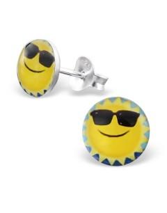 Mon-bijou - H19760 - Boucle d'oreille soleil en argent 925/1000