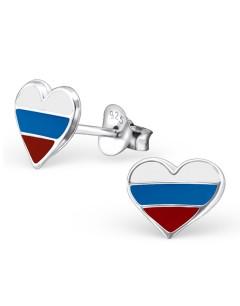 Mon-bijou - H22117 - Boucle d'oreille au couleur du drapeau de la Russie 925/1000