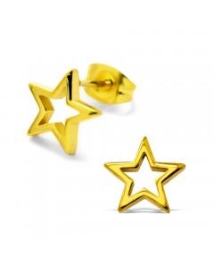 Mon-bijou - H28799 - Boucle d'oreille étoile dorée en acier inoxydable