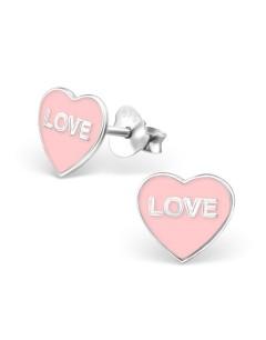 Mon-bijou - H16961 - Boucle d'oreille rose love en argent 925/1000