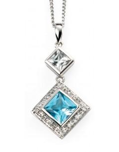 Mon-bijou - D903 - Superbe collier topaze et diamants en or blanc 375/1000