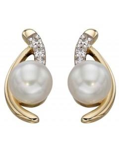 Mon-bijou - D2182 - Boucle d'oreille perle et diamant en Or 375/1000