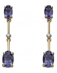 Mon-bijou - D2183 - Boucle d'oreille iolite et diamant en Or 375/1000
