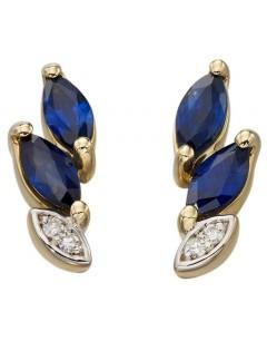 Mon-bijou - D2191 - Boucle d'oreille saphir et diamant en Or 375/1000