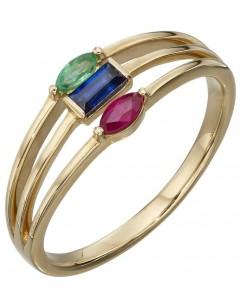 Mon-bijou - D541 - Bague rubis saphir émeraude en Or 375/1000
