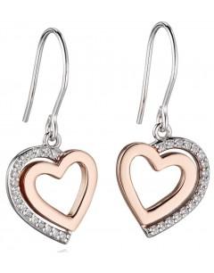 Mon-bijou - D5454 - Boucle d'oreille cœur plaqué Or rose en argent 925/1000