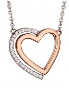 Mon-bijou - D4140 - Superbe Collier cœur plaqué Or rose en argent 925/1000