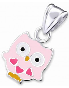 Mon-bijou - H18705 - Collier hibou au 3 petits cœurs en argent 925/1000