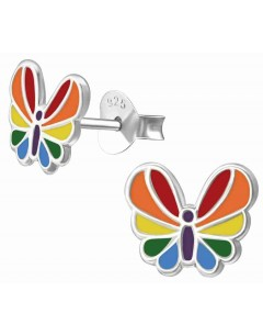 Mon-bijou - H33587 - Boucle d'oreille papillon multicolore en argent 925/1000