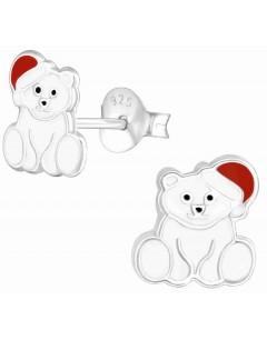 Mon-bijou - H36568 - Boucle d'oreille ours polaire en argent 925/1000