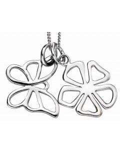 Mon-bijou - D4099 - Collier fleur et papillon en argent 925/1000