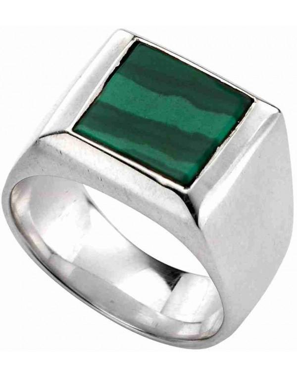 bague en argent avec pierre verte