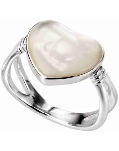 Mon-bijou - D3553 - Bague cœur nacre blanc en argent 925/1000
