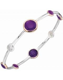 Mon-bijou - D5015 - Bracelet tendance agate plaqué Or rose en argent 925/1000