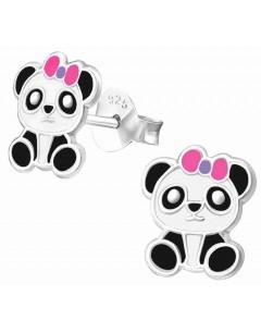 Mon-bijou - H19638 - Boucle d'oreille panda en argent 925/1000