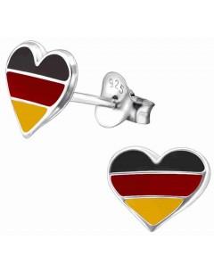 Mon-bijou - H13275 - Boucle d'oreille cœur aux couleurs de l'Allemagne en argent 925/1000