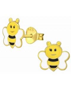 Mon-bijou - H38170 - Boucle d'oreille abeille doré en argent 925/1000