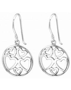 Mon-bijou - H28056 - Superbe Boucle d'oreille cœur en argent 925/1000