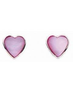 Boucle d'oreille coeur rose foncé en argent 925/1000
