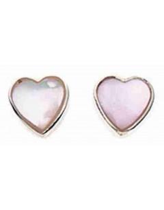 Boucle d'oreille cœur rose clair en argent 925/1000