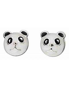Boucle d'oreille panda en argent 925/1000