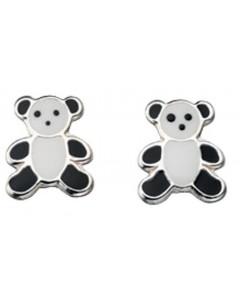 Boucle d'oreille ourson panda en argent 925/1000