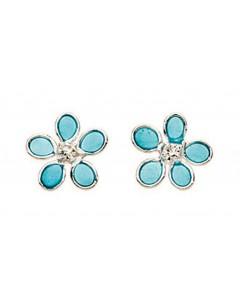 Mon-bijou - D768t - Boucle d'oreille fleur en argent 925/1000