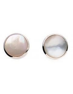 Mon-bijou - D776w - Boucle d'oreille nacre en argent 925/1000