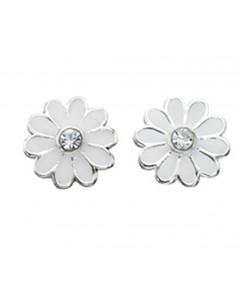 Mon-bijou - D869w - Boucle d'oreille fleur en argent 925/1000