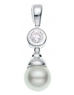 collier Perle et zirconium en argent 925/1000